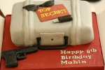Spy themed cake for a 8yr old secret agent
