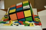 Melting Rubik's cube cake