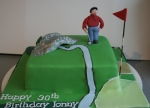 Golf cake with an edible replica of the Swilcan bridge